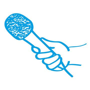 Handgezeichnetes Interview-Symbol in blau