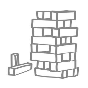 Handgezeichneter Turm aus Holzklötzen in grau