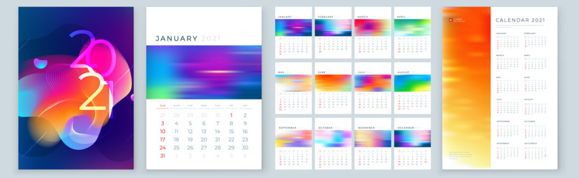 Calendar Template for 2021 Year. Planner Wall or Desk Calendar Template Layout Design with Place for Photo. Set of 12 Months starts on January, Week Starts on Sunday. A4 or A5 format, vector