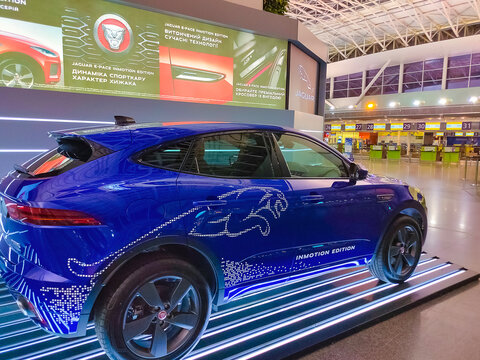 Kyiv, Ukraine - August 17, 2020: The Jaguar car at Kyiv, Ukraine
