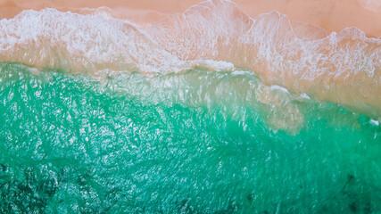 Aerial of waves on the beach, Oahu, Hawaii