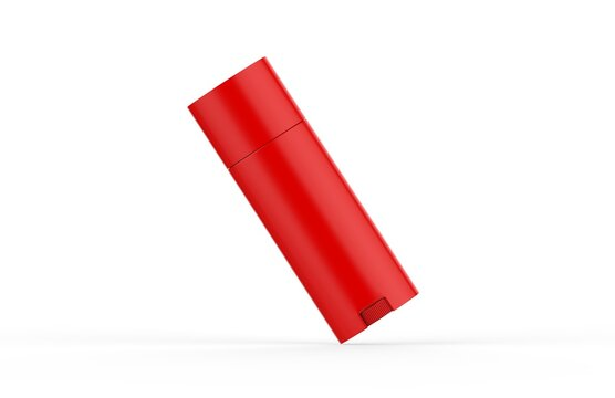 Red glossy deodorant stick mockup template on isolated white background, blank roll for deodorant and lip balm tube, 3d illustration