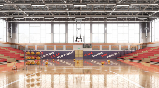 High school basketball gym . 3d illustration