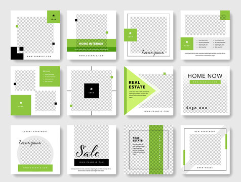 Social media post template collection with green accent. Square graphic banners for online advertisement and digital marketing. Editable real estate designs for agents