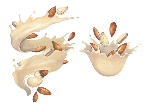 Watercolor splashes of plant based milk with almond nuts.