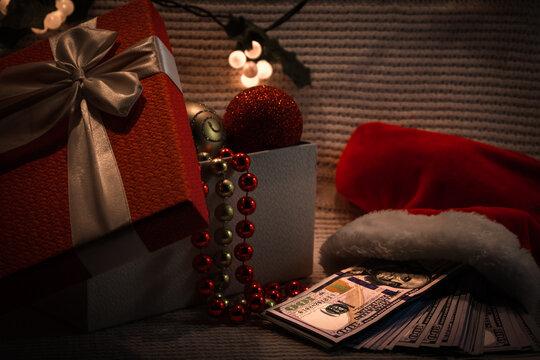 money in a Santa's sock
