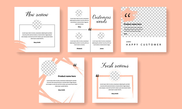 Customer reviews social media post templates with peach background color elements. Clients words about product or services with profile photo placeholder