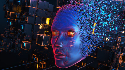 Wall Mural - Head consisting of blocks. Artificial intelligence concept