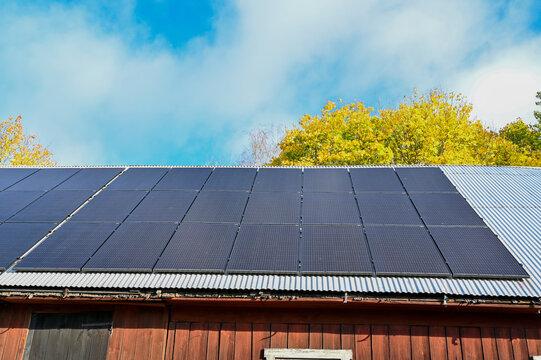 solar panels on barn roof in Sweden