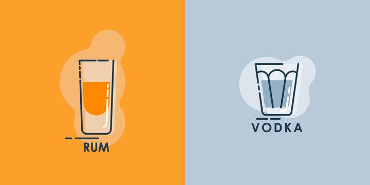 Shot rum and glass vodka line art in flat style. Restaurant alcoholic illustration for celebration design. Design contour element. Beverage outline icon. Isolated on color background