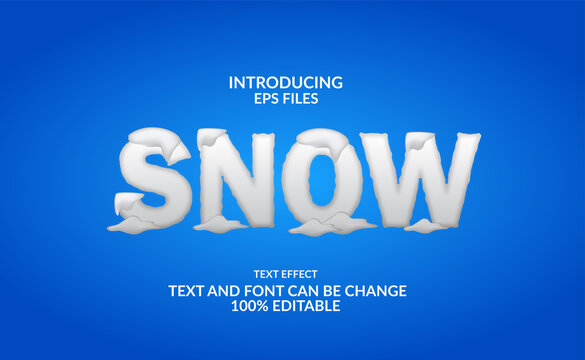 3d snow winter text effect editable font for winter or christmas