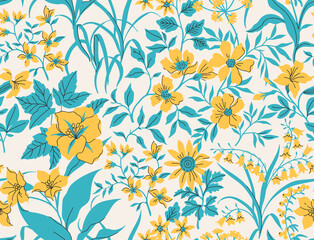 Seamless vintage floral pattern. White background, yellow flowers, blue leaves. Vector print with a liberty motif. Trendy design for surface.