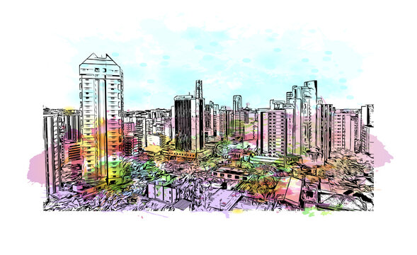 Building view with landmark of Belo Horizonte is the capital city of southeastern Brazil. watercolour splash with hand drawn sketch illustration in vector.