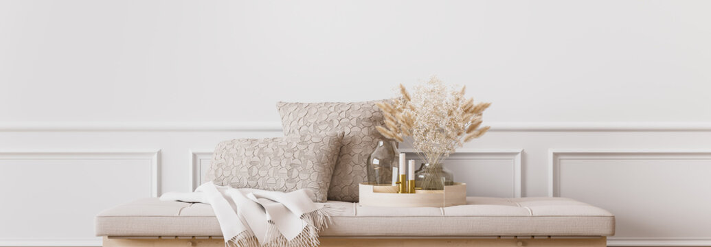 Wall mockup in contemporary living room design, empty white wall background, panorama