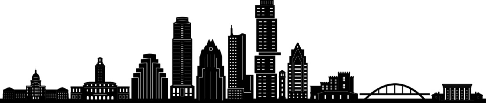 AUSTIN Texas SKYLINE City Outline Silhouette