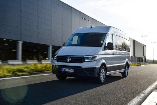 Crafter Combi. Van while driving. 12-11-2019, Prague, Czech Republic.
