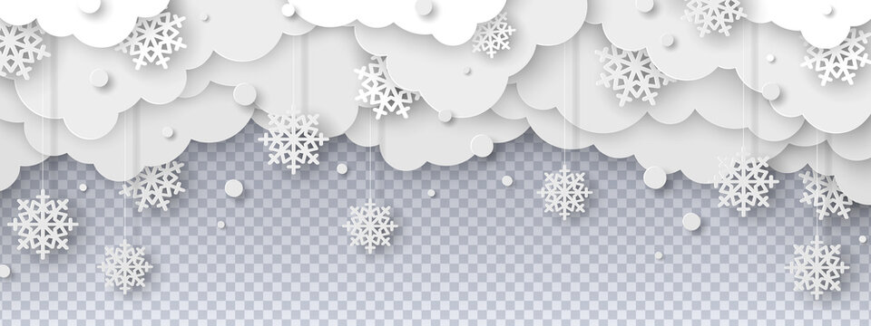 Falling snow on transparent background in paper cut style. Snowstorm clouds overlay effect for Christmas and New Year Design. Vector illustration