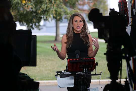 White House Director of Strategic Communications Alyssa Farah gives a television interview about U.S. President Donald Trump's coronavirus illness (COVID-19), outside the White House in Washington