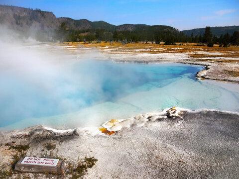 Yellowstone Volcano Caldera Geyser National Park dangerous volcanic landscape, Wyoming, USA