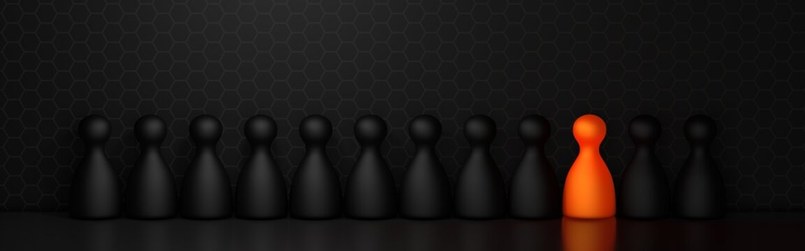 Outsider in a black room. Orange and black figures in a row. Hexagon structure background. 3D rendering