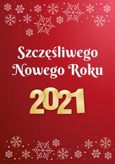 Szczęśliwego Nowego Roku 2021 kartka z życzeniami baner - fototapety na wymiar
