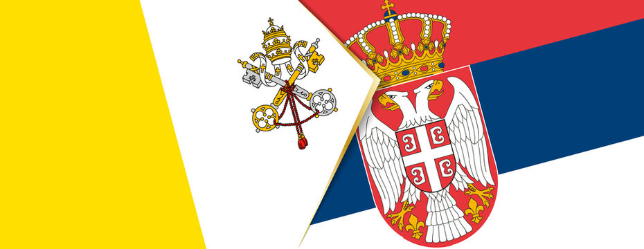 Vatican City and Serbia flags, two vector flags.