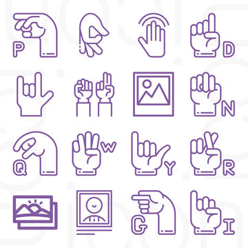 16 pack of bilingual  lineal web icons set