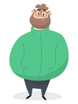 bearded man in green jacket holding his hands in his pockets isolated on white background