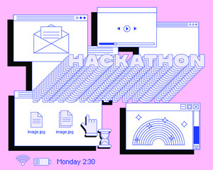 Fototapeta Collage of user interface elements, UI and UX theme. Trendy cover in vaporwave 80's-90's style, retrowave aesthetics. obraz
