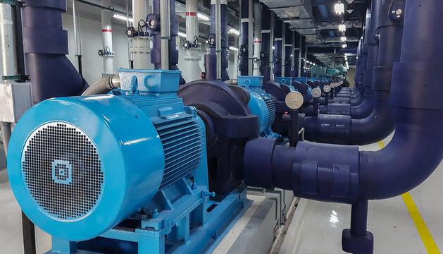 Electric motors driving water pumps.
