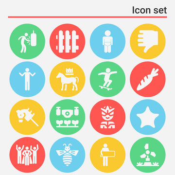 16 pack of farm  filled web icons set