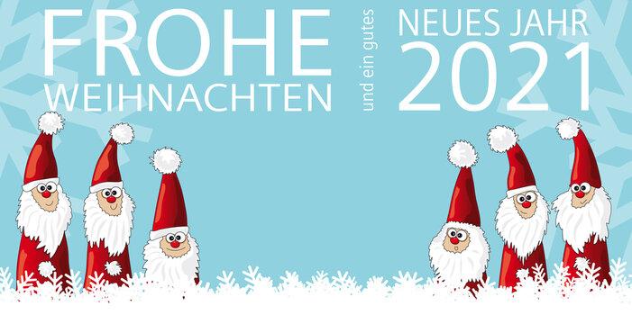 Weihnachtskarte Team Teamwork mit Schriftzug Frohe Weihnachten und gutes neues Jahr 2021, Vektor Illustration mit fröhlichem Weihnachtsmann Team für gute Zusammenarbeit und Zusammenhalt