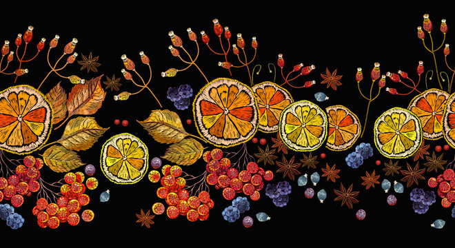 Embroidery lemon, mountain ash berries, cinnamon and carnation. Horizontal seamless pattern. Fashion autumn tea art. Template of clothes, tapestry, t-shirt design