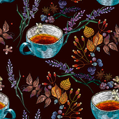 Autumn seamless pattern. Embroidery cup of tea, lavender flowers and leaves. Fall garden template of clothes, tapestry, t-shirt design