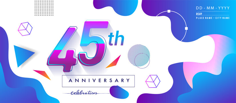 45th years anniversary logo, vector design birthday celebration with colorful geometric background and circles shape.