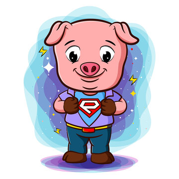A pig do open shirt to show logotype in hero style