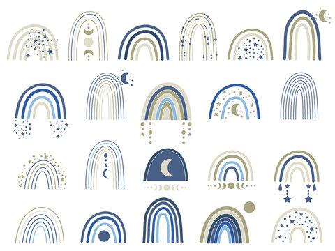 Celestial blue rainbow clip art. Vector illustration.