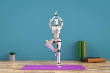 female cyborg do yoga