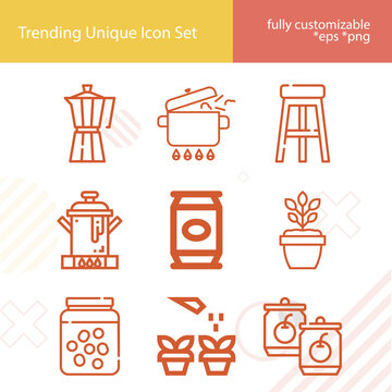 Simple set of toilet bowl related lineal icons.