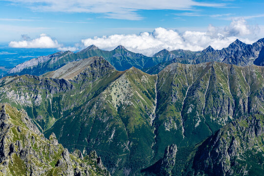 Summer mountain landscape. Beautiful panorama of the High and Belianske Tatras, Slovakia.