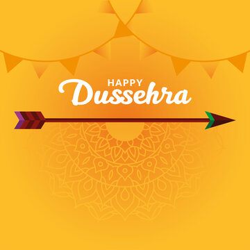 Happy dussehra arrow on yellow mandala background with banner pennants vector design