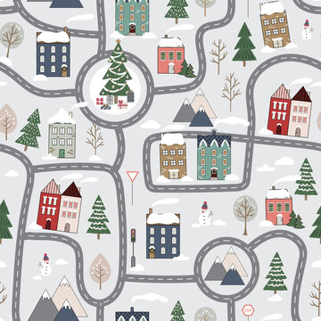 Christmas vector repeat pattern with winter city map for kids