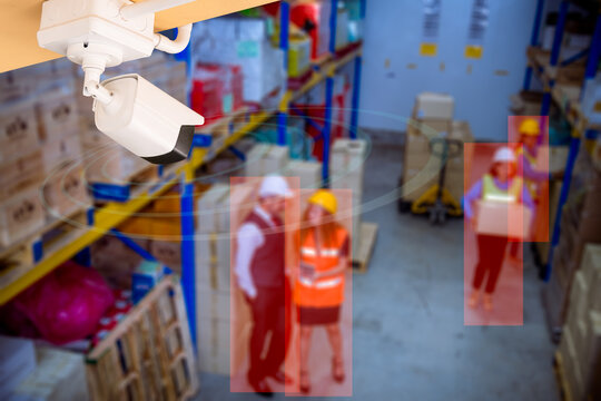 CCTV camera setting look security area of factory warehouse hi-technology to security system and show signal check factory worker in working area