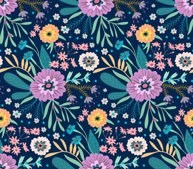 Elegant pattern in small flowers. Liberty style. Floral seamless background. Ditsy print. Vector texture. A bouquet of spring flowers for fashion prints.