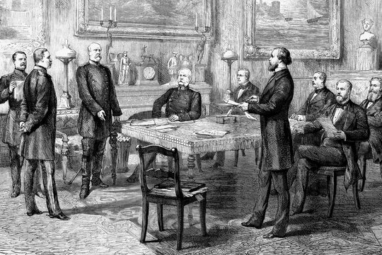 Berlin, Germany, last council of ministers chaired by Emperor Wilhelm on leaving for Italy. Antique illustration. 1875.