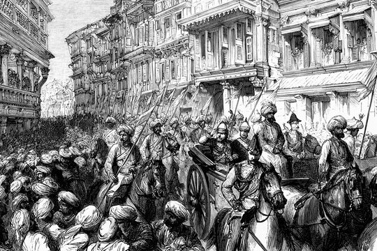 Bombay, India. Entry of the Prince of Wales into the city. 8th November 1875. Antique illustration. 1875.