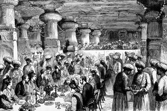 India, the Prince of Wales attended a banquet at the elephant's cave, temple on Gharapuru Island, four miles from Bombay. Antique illustration. 1875.