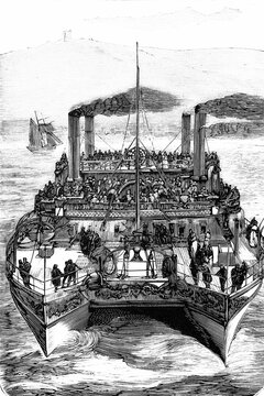 England, Castalia steamship, double-hulled and refurbished to avoid passenger seasickness when crossing the English channel. Antique illustration. 1875..