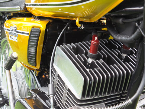 hebden bridge, west yorkshire, united kingdom - 4 august 2019: close up of the engine and side cover of a vintage 1975 yamaha rd 200 motorcycle at hebden bridge annual vintage weekend