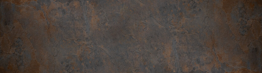 Grunge rusty dark metal stone background texture banner panorama